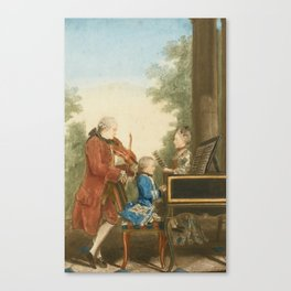 The Mozart family on tour: Leopold, Wolfgang, and Nannerl. Watercolor by Carmontelle, ca. 1763 Canvas Print