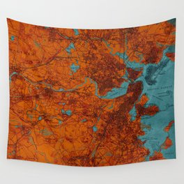 Boston 1893 old map, blue and orange artwork, cartography Wall Tapestry