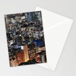 Tokyo Buildings at Night Stationery Cards