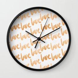 Love Gold Copper Bronze Pattern Wall Clock