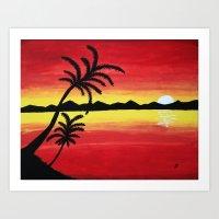 Landscape Sunset Art Print