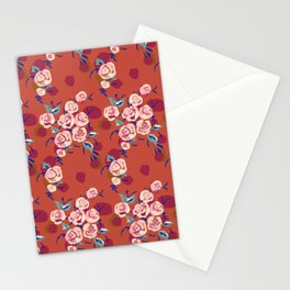 Painty Roses Burnt Orange Stationery Cards