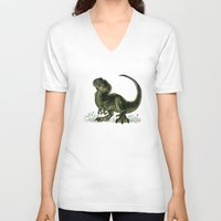 trex V-neck T-shirts featuring Baby T-Rex by River Dragon Art