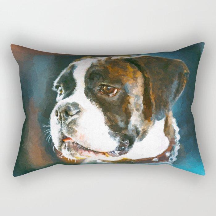 Boxer Dog Portrait  Watercolor Digital Art Rectangular Pillow