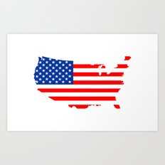 usa flag map Art Print