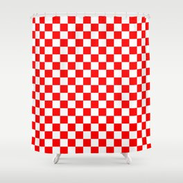 Jumbo Australian Racing Flag Red and White Checked Checkerboard Pattern Shower Curtain