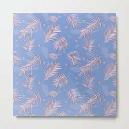 Rose quartz palm leaf Metal Print