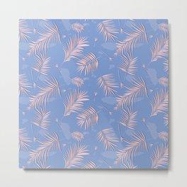 Rose quartz palm leaf Metal Print