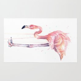 Flamingo Watercolor Painting Art Tropical Birds | Facing Left Rug