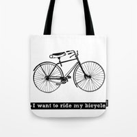 bicycle Tote Bags featuring bicycle by Beverly LeFevre