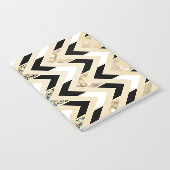 Black, White & Gold Glitter Herringbone Chevron on Nude Cream Notebook