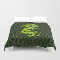 smaug Duvet Covers featuring Jade Dragon by Cartoonasaurus
