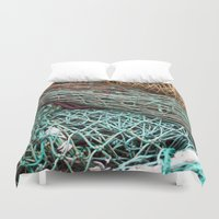 fishing Duvet Covers featuring FISHING NET by CAPTAINSILVA