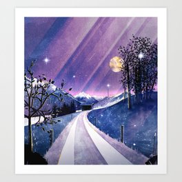 Mountains and Fields Watercolor Art Print