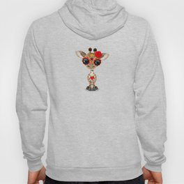 Red and Yellow Day of the Dead Sugar Skull Baby Giraffe Hoody
