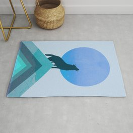 Abstraction_BLUE MOON_WOLF_FOREST_Minimalism_001 Rug