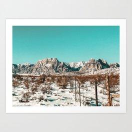 Vintage Desert Fence // Red Rock Canyon Winter Snow Mountain Range Landscape Photograph Art Print