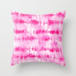 Boho bright hippie neon pink tie dye stripes pattern hand painted watercolor Throw Pillow