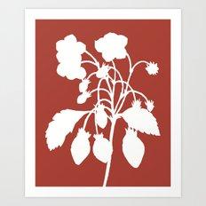 Wild Strawberry in Ruby Red - Original Floral Botanical Papercut Design Art Print
