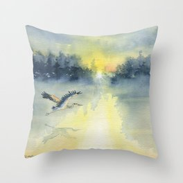 Flying Home - Great Blue Heron Throw Pillow
