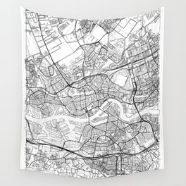 Rotterdam Map White Wall Tapestry
