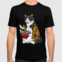 Cat eating Chinese Noodles with Tiger Tattoo T-shirt