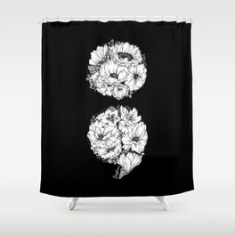 floral semicolon monochrome Shower Curtain