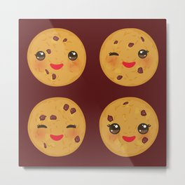 Kawaii Chocolate chip cookie Metal Print