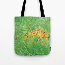 Leopard with tropical leaves Tote Bag