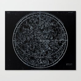 Northern Hemisphere Constellations White Blue Canvas Print