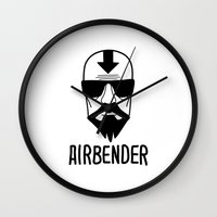 the last airbender Wall Clocks featuring AIRBENDER by Aldo Cervantes Saldaña
