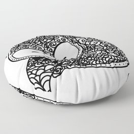 Black and White Mandala Fox Design Illustration Floor Pillow