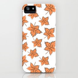 Maple leaves orange iPhone Case