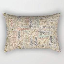 Afghan Hound silhouette and word art pattern Rectangular Pillow
