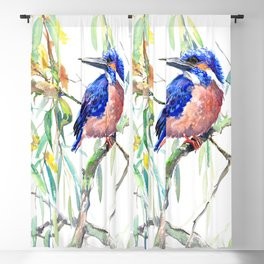 Kingfisher and Willow Blackout Curtain