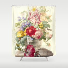 """Herman Henstenburgh """"Flowers in a Glass Vase with a Butterfly"""" Shower Curtain"""