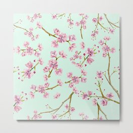 Spring Flowers - Mint and Pink Cherry Blossom Pattern Metal Print