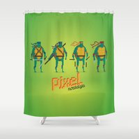 ninja turtles Shower Curtains featuring Ninja Turtles - Pixel Nostalgia by Boo! Studio