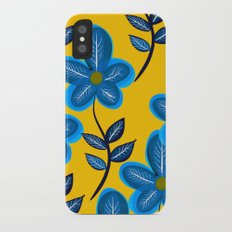 Blue Flowers and Yellow Pattern iPhone X Slim Case
