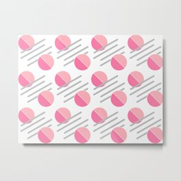 Modern Pink Circle Line Abstract Metal Print