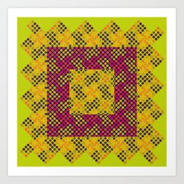 Dot Swatch Equivocated on Chartreuse Art Print
