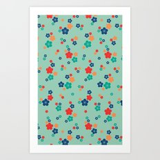 blossom ditsy in grayed jade Art Print