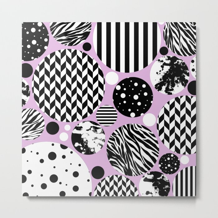 Eclectic Black And White Circles On Pastel Pink Metal Print