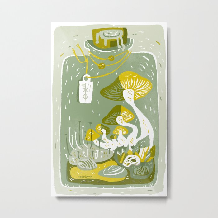 Mushroom Terrarium Metal Print