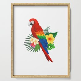 Tropical Macaw Floral Watercolor Serving Tray