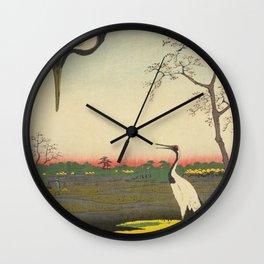 Crane and Cherry Blossom Ukiyoe Landscape Wall Clock