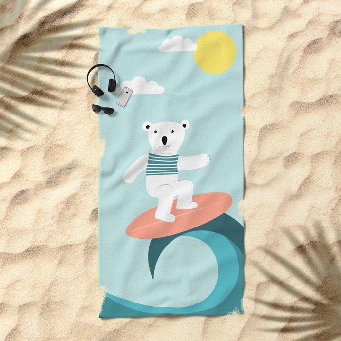 Polar bear surfing. Beach Towel