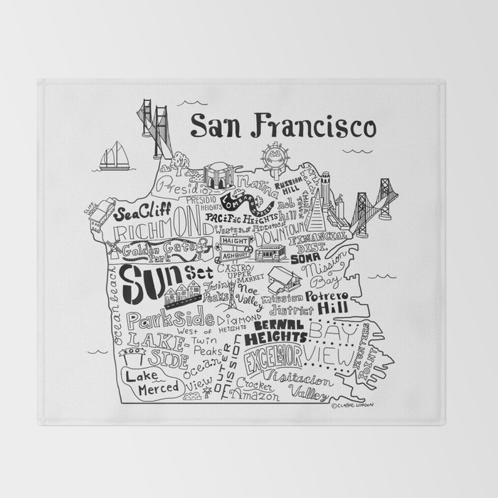 San Francisco Map Illustration Throw Blanket By Clairelordon Society6