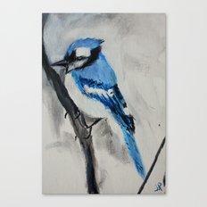 Blue Jay Wild Bird Acrylic Painting Canvas Print