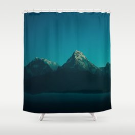 Magical Blue Mountains Star Night Sky Ombre Sunset Shower Curtain